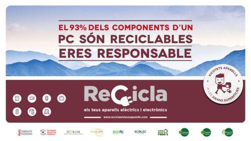 Campaña de la Generalitat Valenciana para el reciclaje de aparatos eléctricos y electrónicos