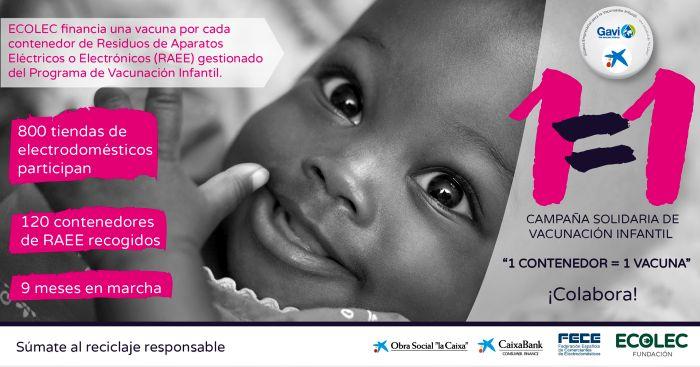 El reciclaje de RAEE sirve para vacunar niños en el Tercer Mundo